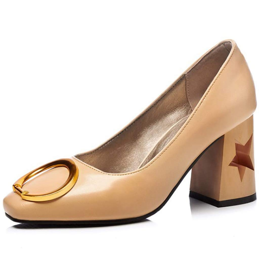GIY Women's Classic Block Heel Shoes Pointy Toe Slip-On Chunky Heel Pumps Evening Party Dress Shoes