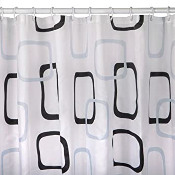 White Fabric Shower Curtain With Rings 180 X 200 Cm Extra Long 200cm