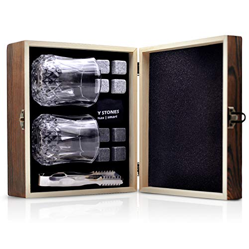 Whiskey Stones Gift Set Whiskey Glasses Set 8 Chilling Rocks Gift for Men Boyfriend Dad Bar Party Birthday Festival Anniversary And More