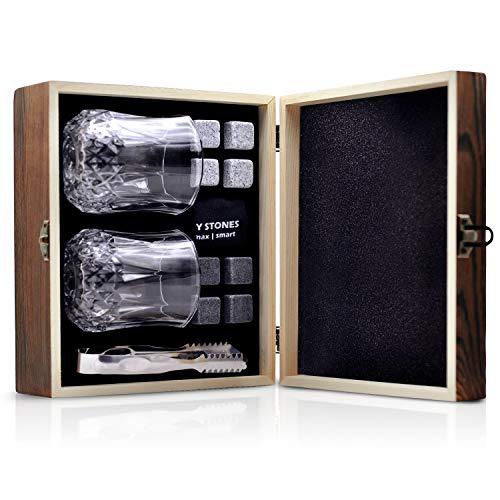 Whiskey Stones Gift Set Whiskey Glasses Set 8 Chilling Rocks Gift for Men Boyfriend Dad Bar Party Birthday Festival Anniversary And More