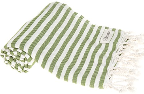 - Bersuse 100% Cotton Malibu Turkish Towel, 37X70 Inches, Olive Green
