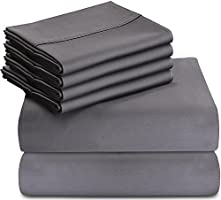 Utopia Bedding 6-Piece Bed Sheet Set - Soft Brushed Microfiber Wrinkle Fade and Stain Resistant (Grey, Queen)
