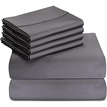 6-Piece Bed Sheet Set (Queen, Grey) With 4 Pillow Cases - Soft Brushed Microfiber Wrinkle, Fade and Stain Resistant Sheet Set by Utopia Bedding