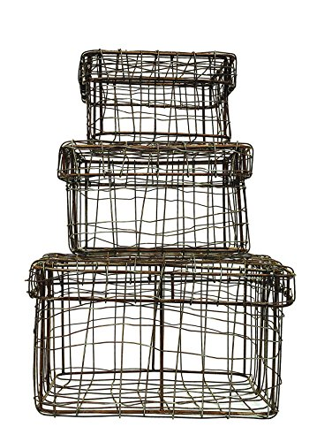 Creative Co-op DA4066 Square Iron Wire Baskets with Lids