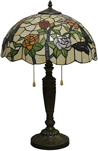 24 Inches Tall Tiffany Style Lamps Butterfly Floral Table Desk Light Stained Glass 16 Inches Wide Lamp Shade Vintage Unique Victorian Lamp