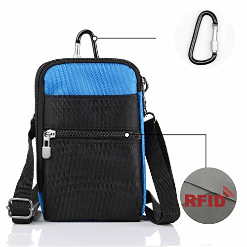 01 Carabiner Clip - liangdongshop 3 Way Water Resistant Utility Gadget Pouch RFID Blocking Passport Phone Waist Pack with Locking Carabiner(sky blue)