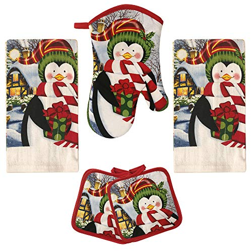 American Mills Christmas Pengiuns 5 Piece Printed Kitchen Linen Set Includes Towels Pot Holders Oven Mitt