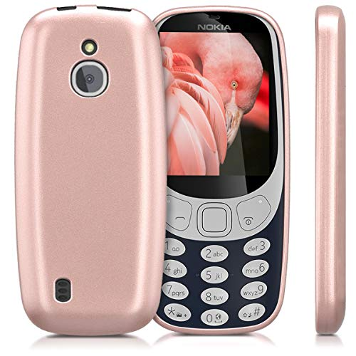 check out b763f 10659 kwmobile TPU Silicone Case for Nokia 3310 3G 2017 / 4G 2018 - Soft Flexible  Shock Absorbent Protective Phone Cover - Metallic Rose Gold