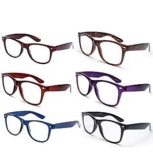 Newbee Fashion - 6 Pack Colors IG Wayfarer Style Comfortable Stylish Reading Glasses +2.00