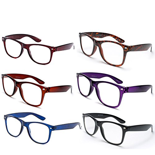 Newbee Fashion - 6 Pack Colors IG Wayfarer Style Comfortable Stylish Reading Glasses +1.50