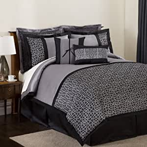 black and silver bedroom set lush decor geometrica gala 8 comforter 18331
