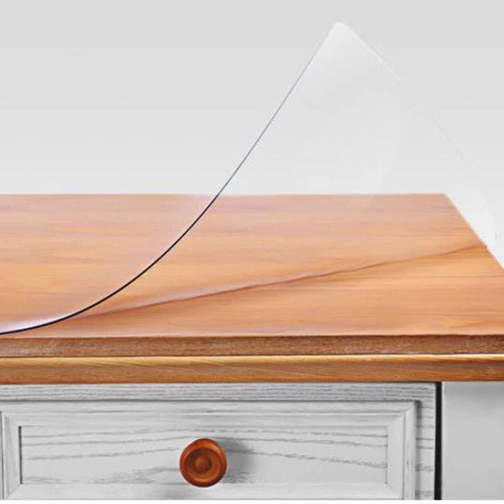 3mm Thick 90140cm Nappe d'hôtel Nappe en Verre Souple Transparente de PVC de Tapis de Table de Couleur Solide, Plaque en Cristal imperméable, Anti-brûlante et Anti-Huile de Nappe en Plastique