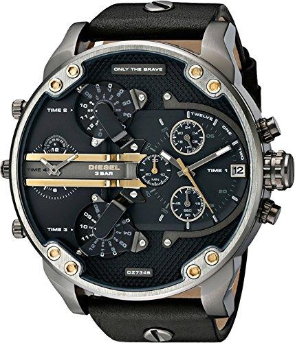Diesel Mens Dz7348 Mr Daddy 2 0 Gunmetal Black Leather Watch