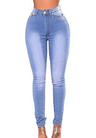 Guiran Mujer Cintura Alta Boyfriend Jeans Pitillo Elasticos ...