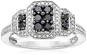 Sterling Silver Black and White Diamond (1/2cttw) Twisted Ring, Size 6