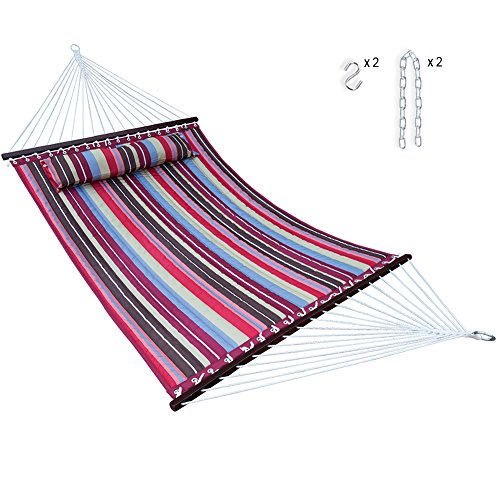 14 Feet Quilted Fabric Hammock with Pillow and Spreader Bars, Portable Two Person Double Size hammock Heavy Duty with Chains for Outdoor Camping Garden Patio Poolside, 450 lbs Capacity Red Stripe