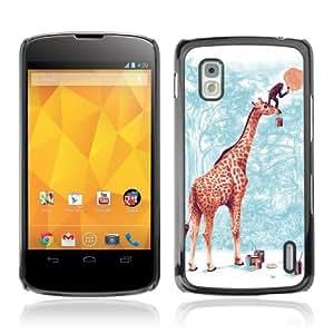 Designer Depo Hard Protection Case for LG Nexus 4 E960 / Giraffe & Monkey Painting Moon