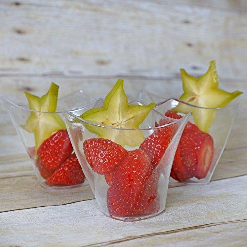Efavormart 60 Pcs - Clear Curved Triangular 4oz Disposable Plastic Dessert Cup