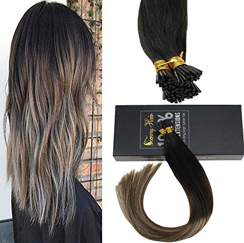Sunny Natural Black Root to Dark Brown Mixed Dark Ash Blonde Human Hair Extensions Pre Bonded Thick Human Hair Extensions Remy Silky Straight I Tip Fusion Hair Extension 20Inch 50Strands ()