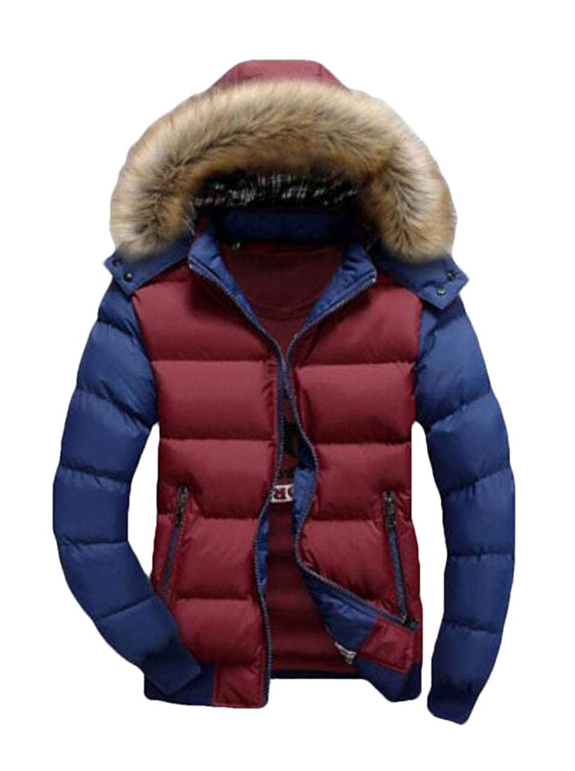 UUYUK Men Warm Large Size Thickened Hood with Faux-Fur Trim Winter Coat