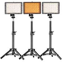 Neewer Photography 3 x 160 LED Studio Lighting Kit, includes (3)CN-160 Dimmable Ultra High Power Panel Digital Camera DSLR Camcorder LED Video Light +(3)32/80cm Tall Studio Light Stand