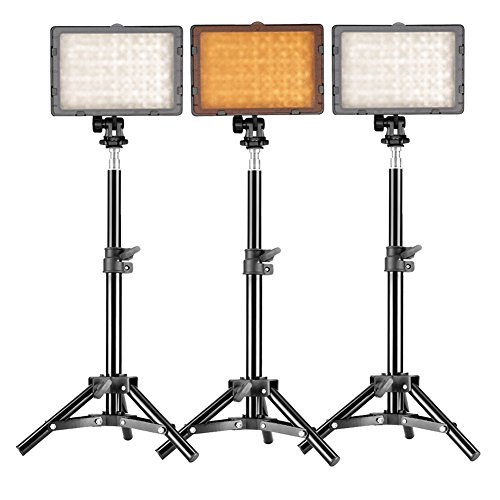 Neewer Photography 3 x 160 LED Studio Lighting Kit, includes (3) CN-160 Dimmable Ultra High Power Panel Digital Camera DSLR Camcorder LED Video Light +(3)32''/80cm Tall Studio Light Stand by Neewer