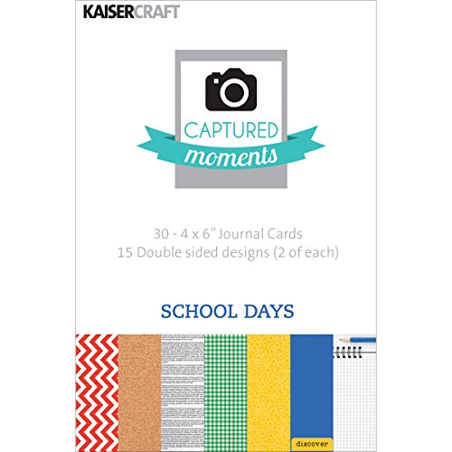Kaisercraft Captured Moments Double-Sided Cards, 6 by 4-Inch, School Days, 30-Pack