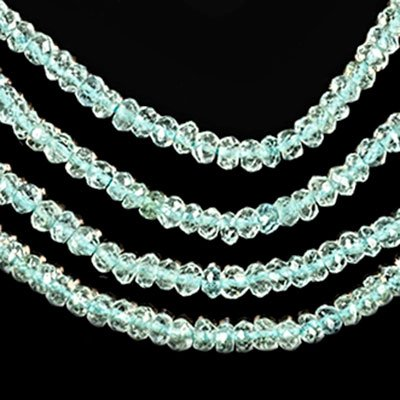 Aquamarine ~2.8mm Micro Faceted Rondelle Beads Genuine Natural Strand Tiny (Aquamarine Faceted Rondelle Beads)