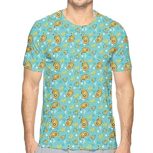 3D Printed T Shirts,Ethnic Middle Eastern Pattern Persian Teardrop Shape with Floral Details