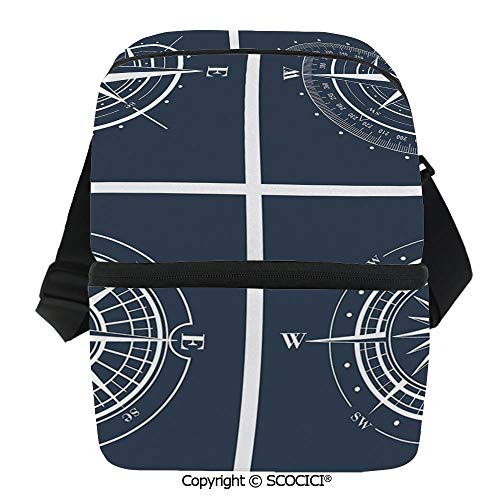 SCOCICI Insulated Lunch Cooler Bag Set of White Compasses with Navy Blue Background Navigation Sailing Themed Art Reusable Lunch for Men Women Heat Insulation,Heat -