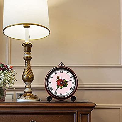 Girlsight Art Retro Living Room Decorative Non-ticking, Easy to Read, Quartz, Analog Large Numerals Bedside Table Desk Alarm Clock-B4541.Rose, Red Rose, Sticker, Vintage, Art - START the day on the POSITIVE note - Bright, friendly colors lit up the room when it's time to wake up - Refreshing, but not too harsh alarm beeping allows you to start the day smoothly and pleasantly Vintage alarm clock-retro style takes you back to 80's. Bring home furnishing high-end elegant atmosphere. Full of personality, adorable best-selling design,180° This vintage alarm clock features a glass lens, easy to read Always know the time - clocks, bedroom-decor, bedroom - 51o05aBwoxL. SS400  -