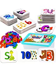 CozyBomB Alphabet Toddler Flash Cards - ABC Wooden Letters Jigsaw Numbers Alphabets Puzzles Flashcards for Age 2 3 4 Years Old - Preschool Learning Educational Montessori Toys Gift for Kids Baby