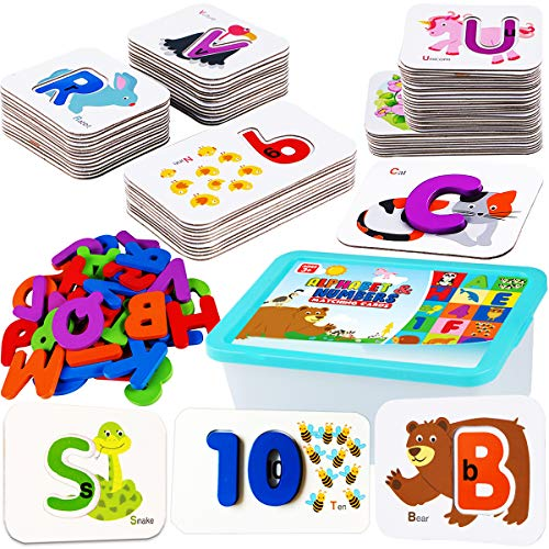 CozyBomB Toddler Alphabet Flash Cards – Preschool Activities Learning Montessori Toys ABC Wooden Letters Jigsaw Numbers…