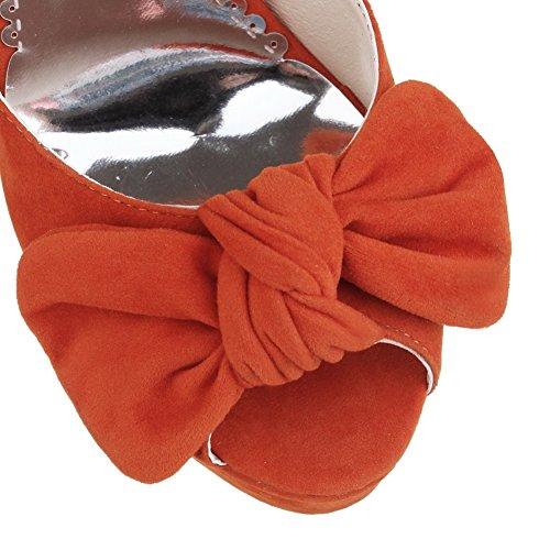 Amoonyfashion Mujeres Buckle Peep Toe Spikes Stilettos Frosted Solid Sandalias Naranja