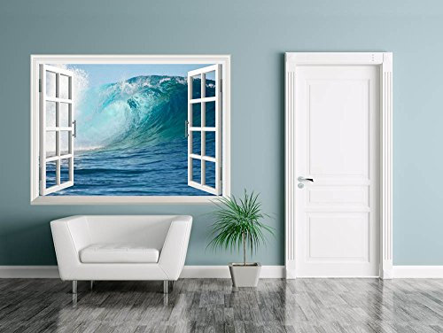 Removable Wall Sticker Wall Mural A Big Wave Break Spray in the Pacific Ocean Creative Window View Wall Decor