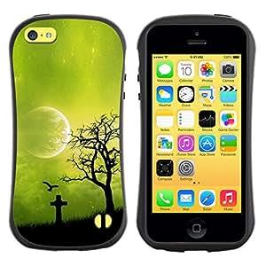 Be-Star Impreso Colorido Diseño Antichoque Caso Del iFace Primera Clase Tpu Carcasa Funda Case Cubierta Par Apple iPhone 5C ( Night Green Moon )