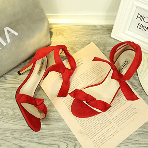 Dream Bowknot Suede High Heels Sexy Women Red Sandals Fashion Comfortable Bare Feet Bare Shoes (Color : Red, Size : 36)