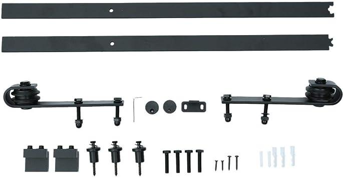 Rollo de puerta corredera de madera rústica para armario, puerta corredera, accesorios de construcción, color negro: Amazon.es: Bricolaje y herramientas