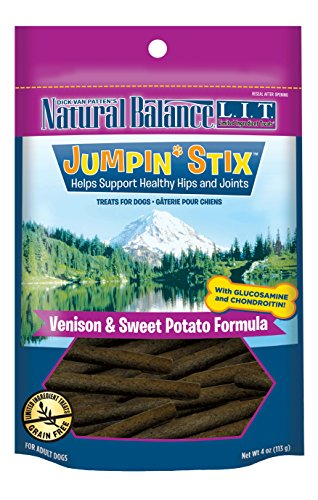 Natural Balance L.I.T. Limited Ingredient Treats Jumpin' Stix Dog Treats, Grain Free, Venison & Sweet Potato Formula, 4-Ounce