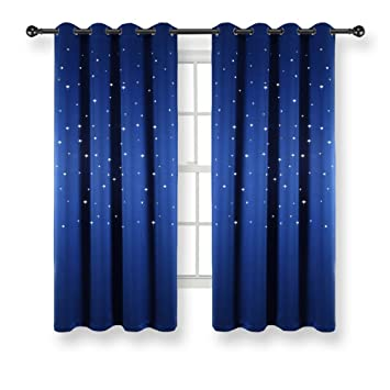 Kotile Space Star Curtains - Laser Cutting Out Star Room Darkening Curtains  for Boys Bedroom, Royal Blue, 52 x 63 Inch, Set of 2 Panels