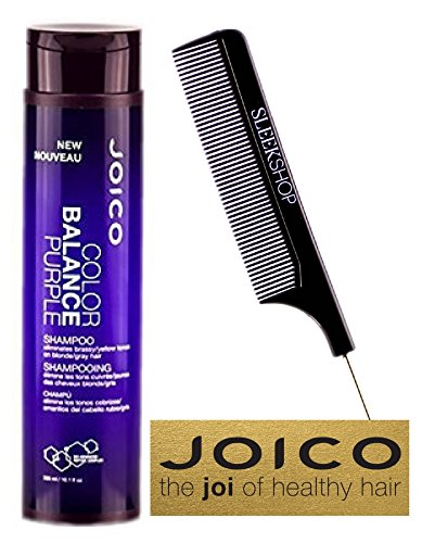 Joico Color Balance PURPLE Shampoo - 10.1 oz / 300ml (with Sleek Steel Pin Tail Comb) (Shampoo 10.1 oz / 300ml) (Best Hair Color For Greying Brunettes)