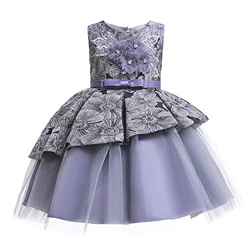 Lace Flower Girl Pageant Holiday Dress Girls Elegant Tulle Backless Wedding Princess Ball Gown Sleeveless Party Dresses Special Occasion Dresses Age 7-8 Year (Grey, ()