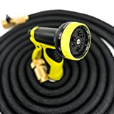"MIKES STUDIO CANADA, 3rd Generation ""The Ultimate"" 50 Feet Expandable Hose, Solid Brass Shut Off Valves, Increases Water Pressure by 100%, 3x Thicker Interior Membrane, Includes 9-Way Spray Head and Watering Hose, Ideal for Gardening, Car Washes, Watering, and Outdoor Work! Garden Hose Designed, Tested and Approved by Canadians."