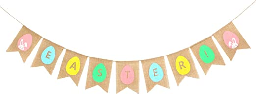 Rabbit Pattern Triangle Flag Colorful Jute Banner Birthday Easter Party Decor
