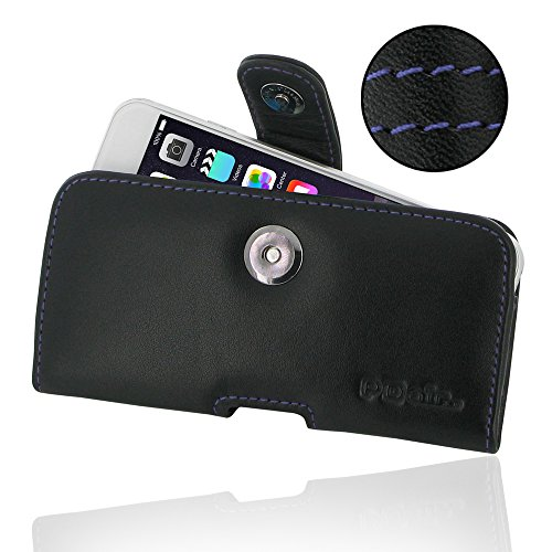 """Apple iPhone 6 (4.7"""") Leather Case / Cover Protective Carrying Phone Case / Cover (Handmade Genuine Leather) - Horizontal Pouch Case (Black/Purple stitchings) by Pdair"""
