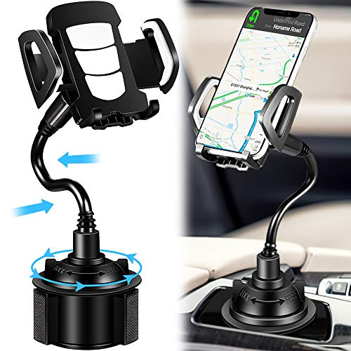 Car Cup Holder Phone Mount, Cup Phone Holder for Car, 360 Degree Universal Adjustable Car Phone Holder Gooseneck Cup Holder Compatible for iPhone 11/XS Max/8/8 Plus/Galaxy