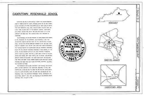 Historic Pictoric Blueprint Diagram HABS KY-288 (Sheet 1 of 3) - Cadentown Rosenwald School, Caden Lane, Lexington, Fayette County, KY 12in x 08in