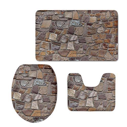 (Mumeson Stones Rock Print 3-Piece Bathroom Rug Set Soft Flannel Absorbent Bath Foot Mat Towel + Contour Rug + Toilet Seat Cover)