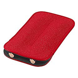 Leather Double Pen Sleeve, Genuine Stingray Leather, Red, Fits 2 Pens