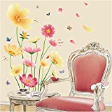 ufengke Elegant Pastoral Style Red and Yellow Flowers Flying Butterflies Wall Decals, Living Room Bedroom Removable Wall Stickers Murals